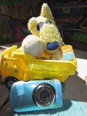 This is Doggie, my son's favorite lovey. Doggie is with my old Canon Elph 960 (yes that's scotch tape holding it together) and its Eye-Fi card, which wirelessly uploads photos of my son to my iPhone. Recently, my boy's photo stream stopped flowing. Doggie was sad. He asked Dada for help.