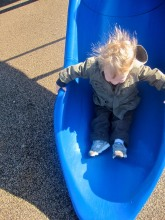 This one is all about my son's hair going twenty miles per hour down the slide!