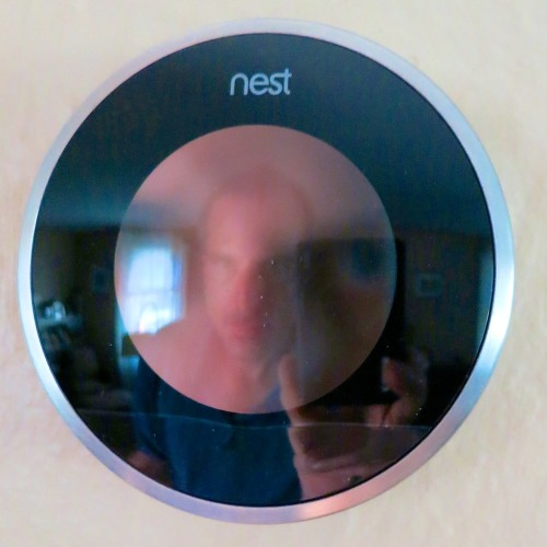 My new Nest and me.  I needed a little help directing my house's response to extreme weather.  So it was time to bring on a new tech tool to join the home team.