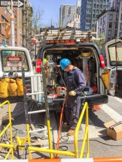 This utility project on the warm streets of the Upper East Side in Manhattan has the feel of a picnic lunch being laid out.